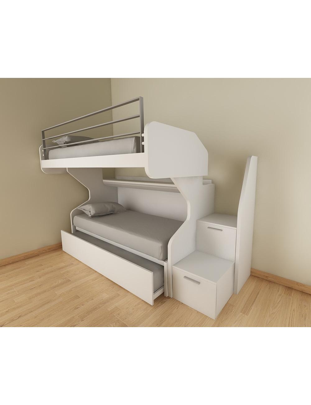 art soppalco 3 lit superpose coulissant avec deuxieme lit gigogne independant avec echelle a tiroirs