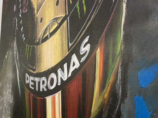 Quadro in acrilico e foglia d oro Lewis Hamilton 140x90cm 1 scaled