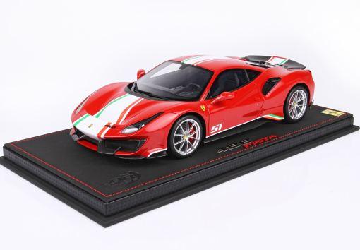BBR 118 Ferrari 488 Pista Piloti Ferrari Rosso Corsa 322