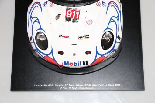 Modellino Spark 112 Porsche 911 RSR Winner GTLM class Petit 24h Le Mans 2018 frontale