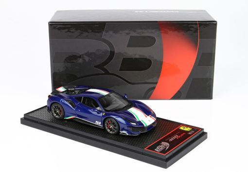 BBR 1 43 Ferrari 488 Pista Piloti Ferrari Blue Tour De France BOX