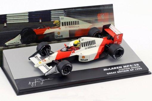 Modellino F1 Atlas 143 Ayrton Senna McLaren MP45B 27 World Champion Great Britain GP Formula 1 1990