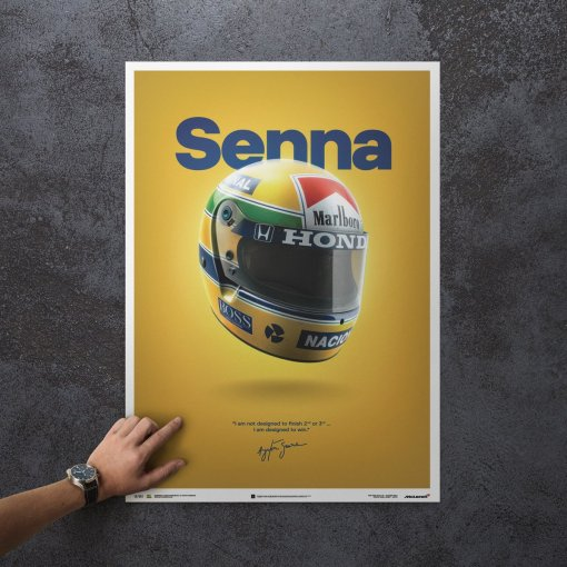 Poster Ayrton Senna Helmet San Marino GP 1988 McLaren MP44 50x70cm 1