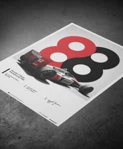 Poster Ayrton Senna McLaren 1988 MP44 50x70cm 3