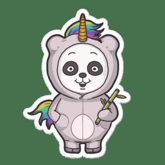 Sticker panda licorne