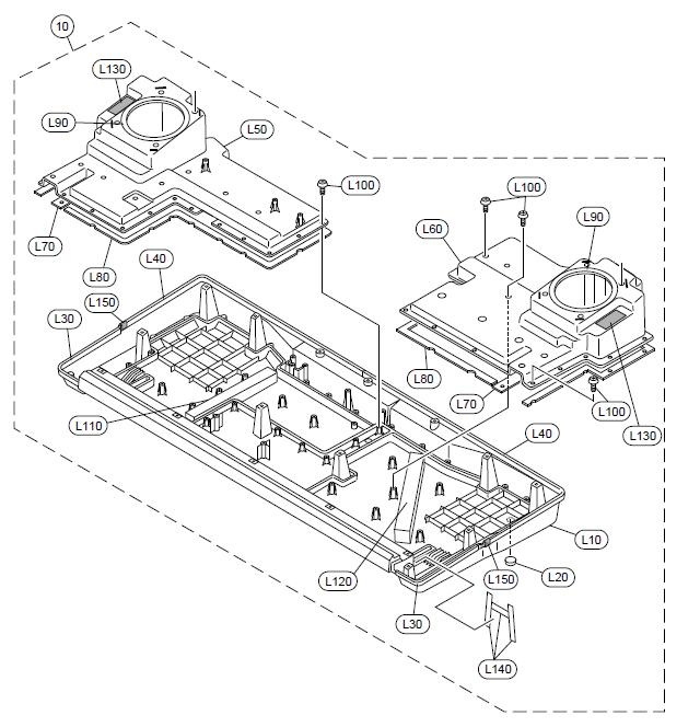 PSR-1500 Lower Case Assembly Diagram