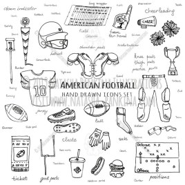 American football. Hand Drawn Doodle Sport Icons Collection. - Natasha Pankina Illustrations