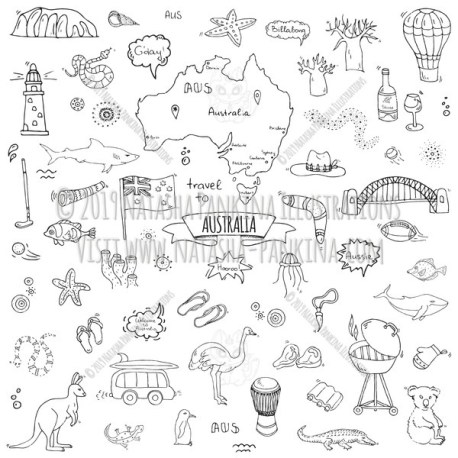 Australia. Hand Drawn Doodle Australian Icons Collection. - Natasha Pankina Illustrations