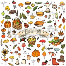 Autumn. Hand Drawn Doodle Fall Season Colorful Icons Set - Natasha Pankina Illustrations