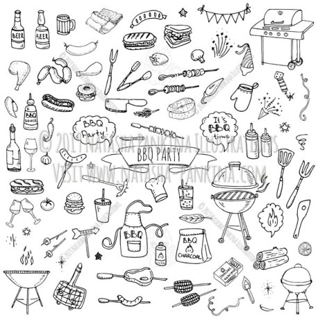 BBQ. Hand Drawn Doodle BBQ Party Icons Set. - Natasha Pankina Illustrations