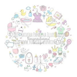 Baby Girl. Hand Drawn Doodle Baby Shower Colorful Icons Set - Natasha Pankina Illustrations