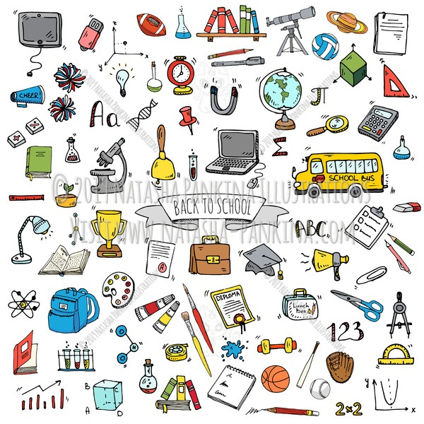 Back to School. Hand Drawn Doodle School Colorful Icons Set - Natasha Pankina Illustrations