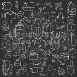 Baggage. Hand Drawn Doodle Traveling Icons Collection. Chalkboard style. - Natasha Pankina Illustrations