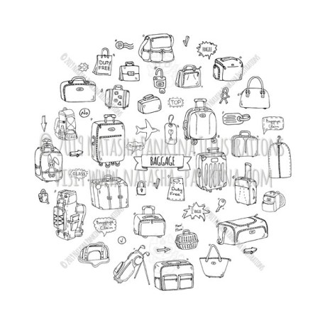 Baggage. Hand Drawn Doodle Traveling Icons Collection. Round shape. Circle shaped. - Natasha Pankina Illustrations