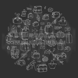 Baggage. Hand Drawn Doodle Traveling Icons Collection. Round shape. Circle shaped. Chalkboard style. - Natasha Pankina Illustrations