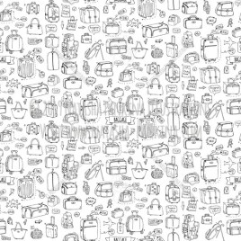Baggage. Hand Drawn Doodle Traveling Icons Collection. Seamless background. Unseamed pattern. - Natasha Pankina Illustrations