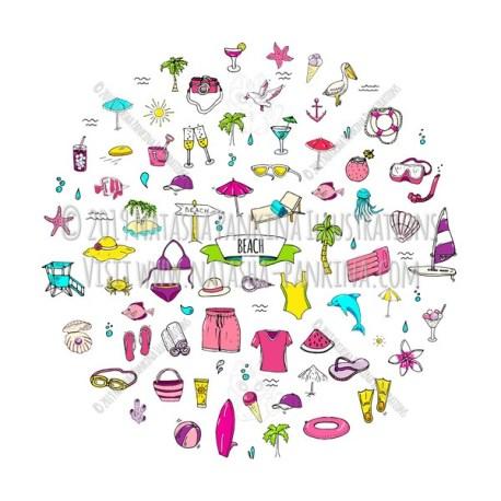 Beach. Hand Drawn Doodle Vacation Colorful Icons Collection. Round shape. Circle shaped. - Natasha Pankina Illustrations