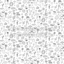 Beach. Hand Drawn Doodle Vacation Icons Collection. Seamless background. Unseamed pattern. - Natasha Pankina Illustrations