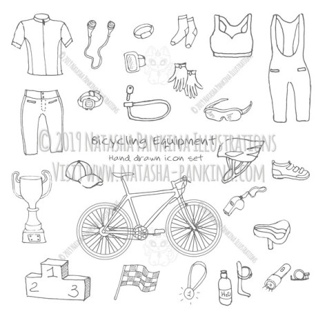 Bicycle Equipment. Hand Drawn Doodle Bicycling Icons Collection. - Natasha Pankina Illustrations