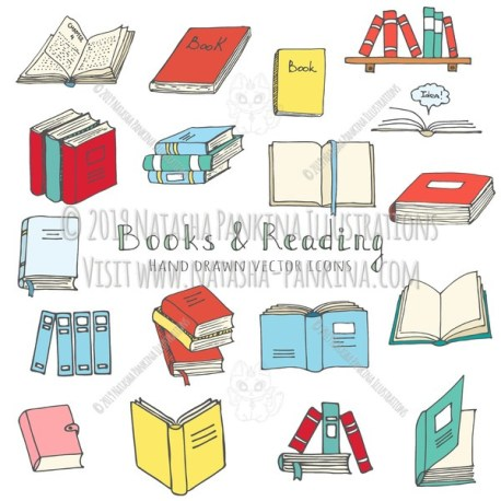 Books. Hand Drawn Doodle Reading Colorful Icons Set - Natasha Pankina Illustrations