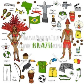 Brazil. Hand Drawn Doodle Brazilian Colorful Icons Collection. Contour shape. Outlined. With place for your text. - Natasha Pankina Illustrations