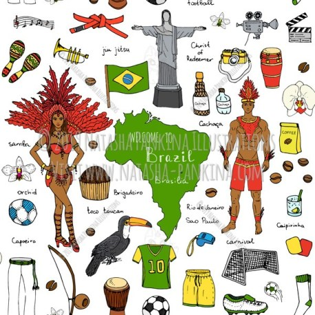 Brazil. Hand Drawn Doodle Brazilian Colorful Icons Collection. Seamless background. Unseamed pattern. - Natasha Pankina Illustrations