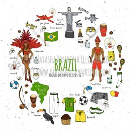 Brazil. Hand Drawn Doodle Brazilian Colorful Icons Collection. Wreath shaped. Ring shape. With place for your text. - Natasha Pankina Illustrations
