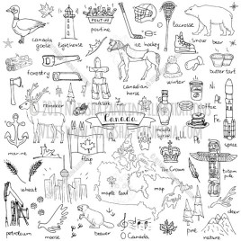Canada. Hand Drawn Doodle Canadian Icons Collection. - Natasha Pankina Illustrations