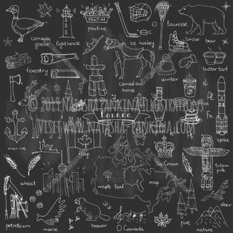 Canada. Hand Drawn Doodle Canadian Icons Collection. Chalkboard style. - Natasha Pankina Illustrations