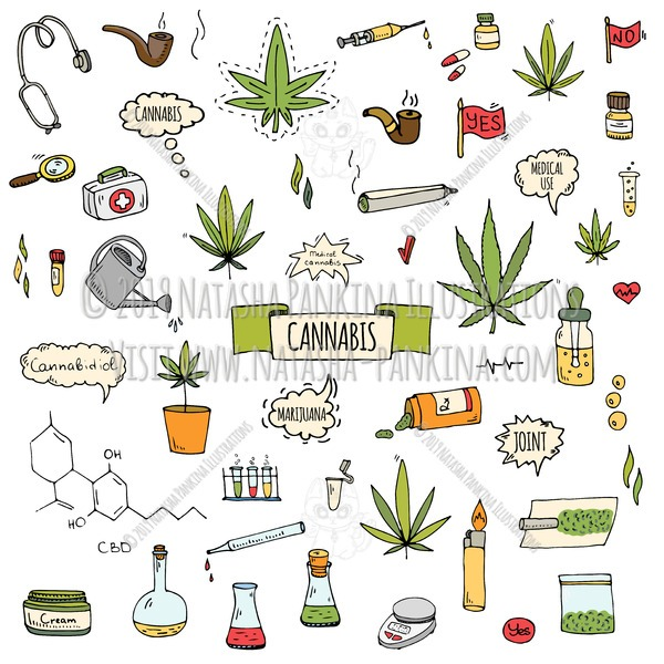 Cannabis. Hand Drawn Doodle CBD Oil Colorful Icons Set - Natasha Pankina Illustrations