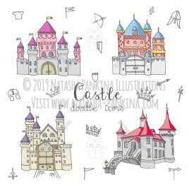 Castle. Hand Drawn Doodle Fairy Tale Icons Collection. - Natasha Pankina Illustrations