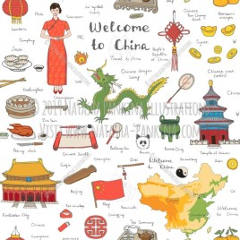 China. Hand Drawn Doodle Chinese Colorful Icons Collection. Seamless background. Unseamed pattern. - Natasha Pankina Illustrations