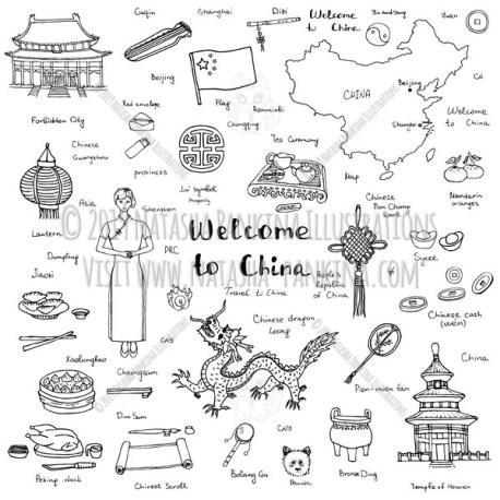 China. Hand Drawn Doodle Chinese Icons Collection. - Natasha Pankina Illustrations