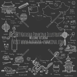China. Hand Drawn Doodle Chinese Icons Collection. Contour shape. Outlined. With place for your text. Chalkboard style. - Natasha Pankina Illustrations