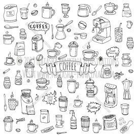 Coffee. Hand Drawn Doodle Coffee Time Icon Set. - Natasha Pankina Illustrations