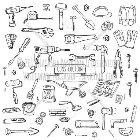 Construction. Hand Drawn Doodle Repair Icons Collection. - Natasha Pankina Illustrations