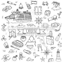 Cruise. Hand Drawn Doodle Cruise Liner Journey Icons Collection. - Natasha Pankina Illustrations