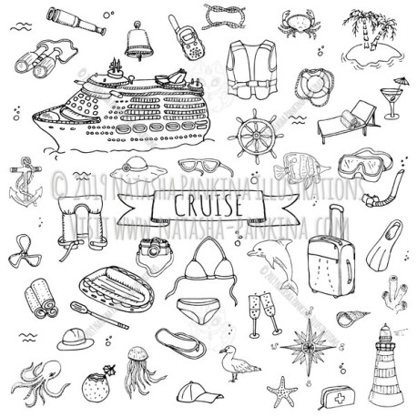 Cruise. Hand Drawn Doodle Cruise Liner Journey Icons Collection. - Natasha Pankina Illustrations