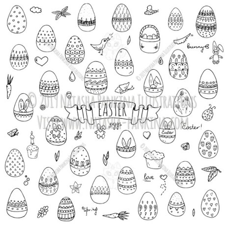 Easter. Hand Drawn Doodle Happy Easter Icons Collection. - Natasha Pankina Illustrations