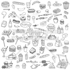Fast food. Hand Drawn Doodle Food Icon Set. - Natasha Pankina Illustrations