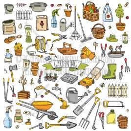 Gardening. Hand Drawn Doodle Garden Equipment Colorful Icons Collection. - Natasha Pankina Illustrations