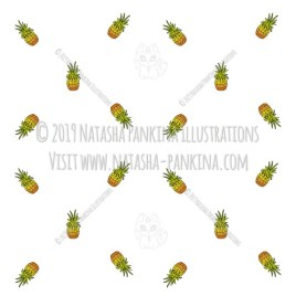Hawaii. Hand Drawn Doodle USA State Colored Icons Collection. Pineapples. Seamless background. Unseamed pattern. - Natasha Pankina Illustrations