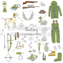 Hunting. Hand Dawn Doodle Hunt Related Icons Collection. - Natasha Pankina Illustrations