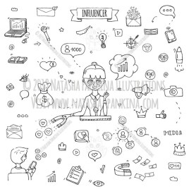 Influencer. Hand Drawn Doodle Marketing Icons Collection. - Natasha Pankina Illustrations