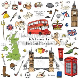 London. Hand Drawn Doodle English Colorful Icons Collection. - Natasha Pankina Illustrations