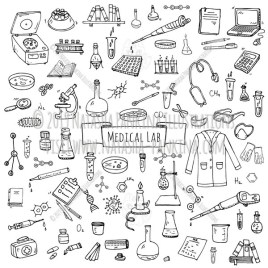 Medical lab. Hand Drawn Doodle Medical laboratory Icons Collection. - Natasha Pankina Illustrations