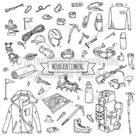 Mountain climbing. Hand Drawn Doodle Mountaineering Equipment Icons Collection. - Natasha Pankina Illustrations