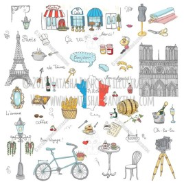 Paris. Hand Drawn Doodle French Colorful Icons Collection. - Natasha Pankina Illustrations
