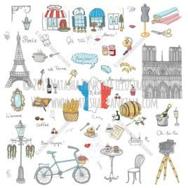 Paris. Hand Drawn Doodle French Colorful Icons Collection. - Natasha Pankina Illustrations