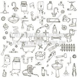 Plumbing. Hand Drawn Doodle Plumber Repair Tools Icons Collection. - Natasha Pankina Illustrations